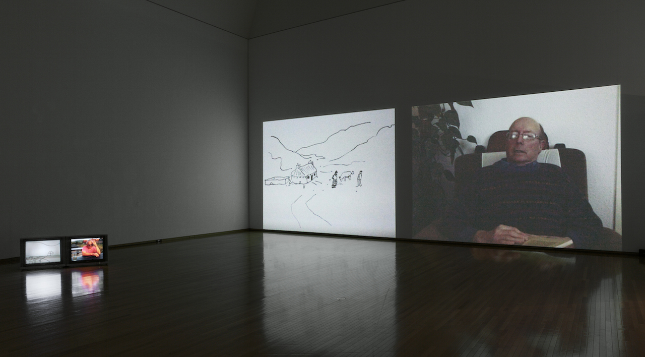 Alternative Stories (double projection and 6 monitors), installation view. MOT collection. year shown - 2013