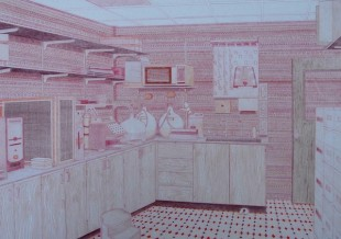 Mike Rogers, Tip Room(Facing north),coloured pencil on paper, 2010