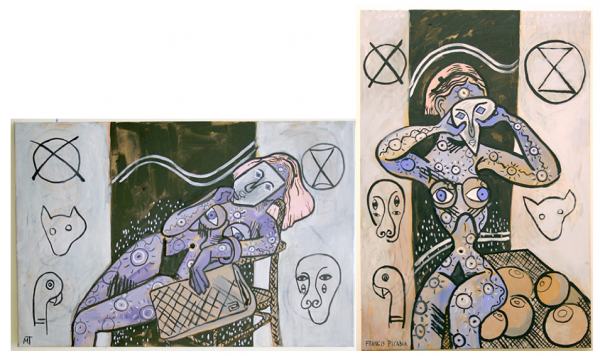 left: The Breasts, oil on canvas, 97 x 42cm, 2010 right: Les Seins (Picabia), oil on canvas, 42 x 97cm, 2011