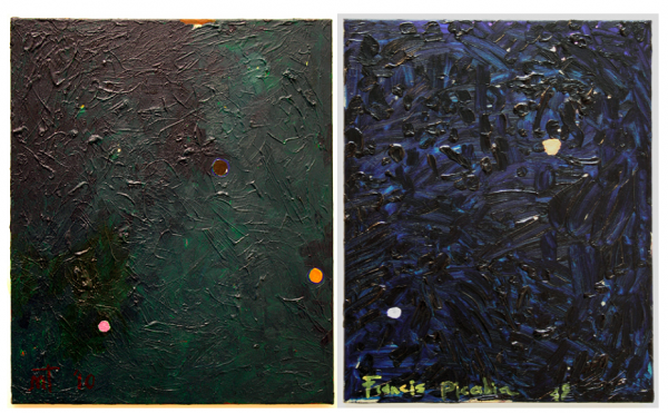 left: Untitled, oil on canvas, 52 x 67cm, 2010 right: Sans Titre (Picabia), oil on canvas, 52 x 67cm, 2013