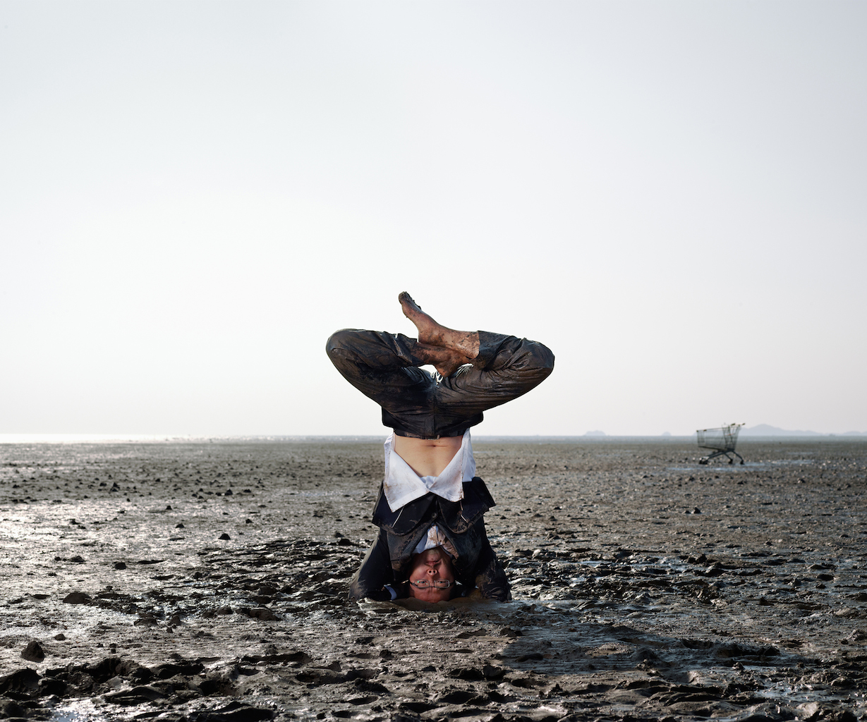 'Supported Headstand Pose- Salamba Shirshasana', photograph,archival pigment print,  127x152cm, 2011