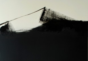 Detail of Untitled from the Tank Series, oil, ink, shellac, and emulsion on board, 2012