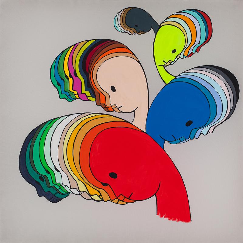 Self-gradation, 2014, acrylic on polyester, 50 x 50 cm