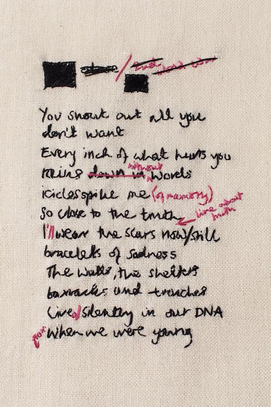Untitled, cotton thread on raw silk, 2013-14