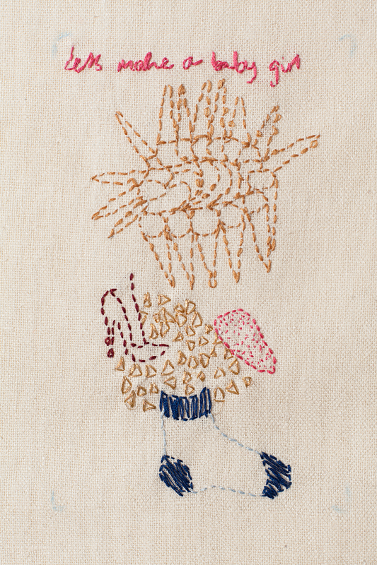 Untitled, cotton thread on raw silk, 2013-14