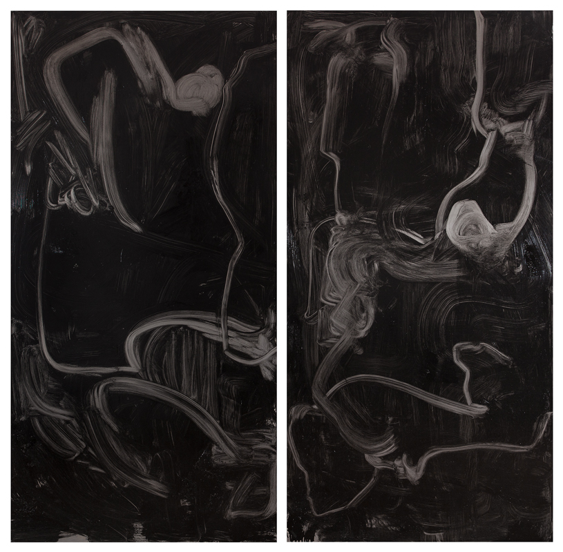 Untitled, oil, hammerite paint, gloss, varnish, silk on ungalvanised steel, each 200 x 100 cm, 2015