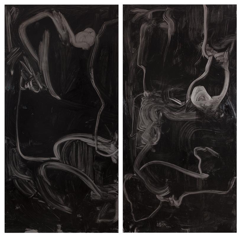 Untitled, oil, hammerite paint, gloss, varnish, silk on ungalvanised steel, each 200 x 100 cm, 2015