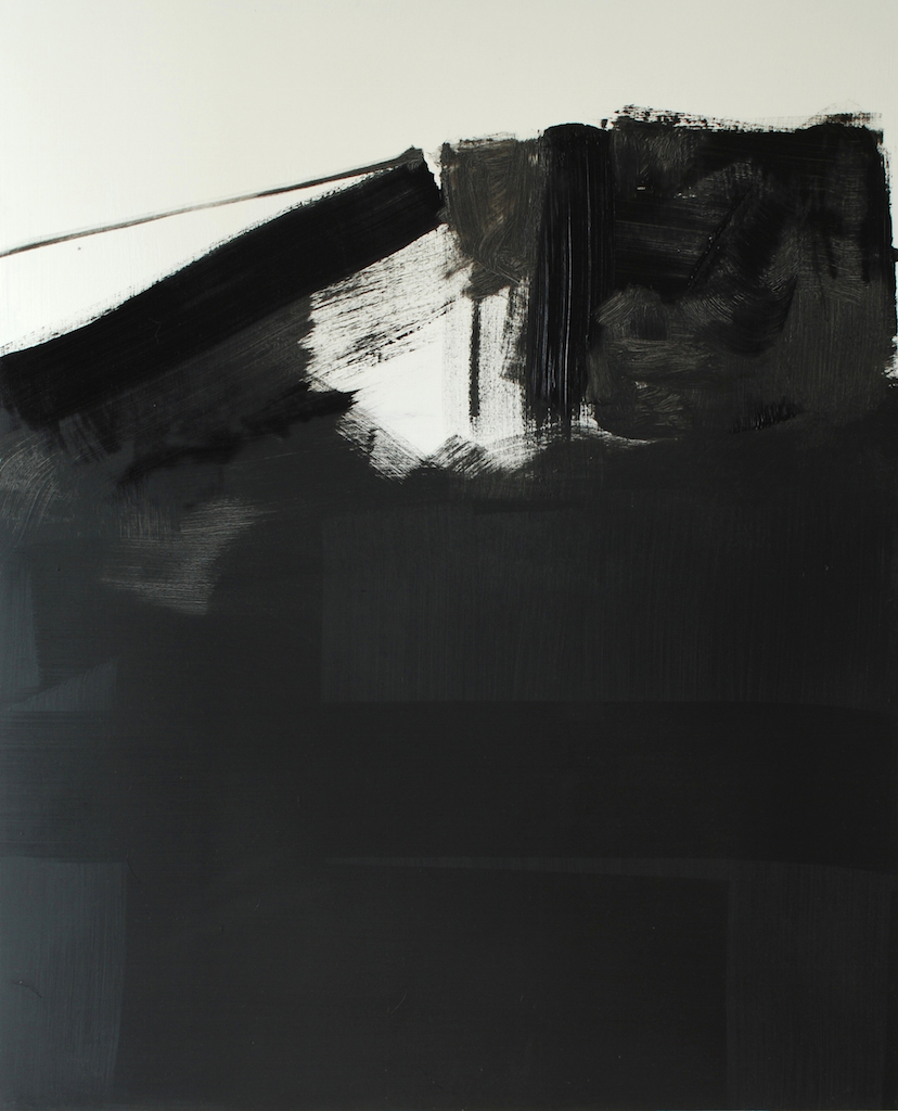 Untitled, from the Tank Series, oil, ink, shellac, and emulsion on board, 110 x 90 cm, 2012